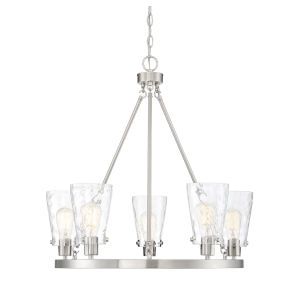 Nora Satin Nickel Five-Light Chandelier