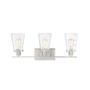 Nora Satin Nickel Three-Light Bath Vanity