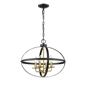 Nora Matte Black and Heirloom Bronze Four-Light Pendant