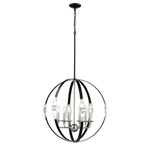 Nora Matte Black and Polished Nickel Six-Light Pendant