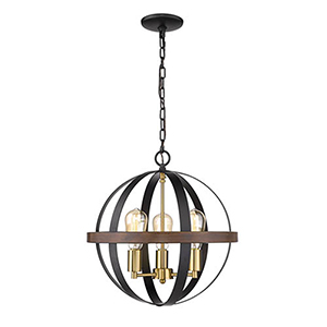 Nora Matte Black and Heirloom Bronze Three-Light Pendant