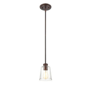 Ava Rubbed Bronze One-Light Mini Pendant with Transparent Glass