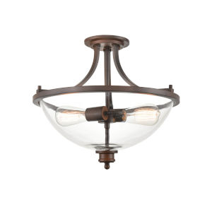 Anna Rubbed Bronze Two-Light Semi-Flush Mount