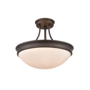 Anna Rubbed Bronze Three-Light Semi-Flush Mount