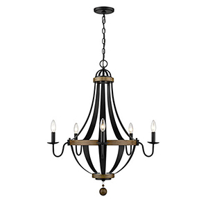 Iris Matte Black and Wood Tone Five-Light Chandelier
