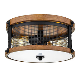 Iris Matte Black and Wood Grain Two-Light Flush Mount