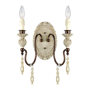 Iris Antique White and Bronze Two-Light Wall Sconce