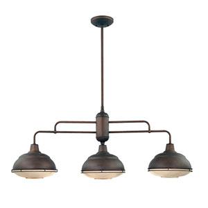 Lex Rubbed Bronze Three-Light Outdoor Pendant