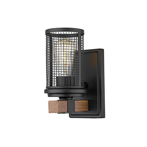 Finn Matte Black and Wood Grain One-Light Wall Sconce