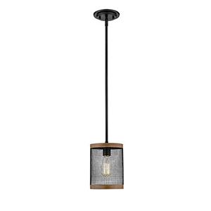 Finn Matte Black and Wood Grain One-Light Mini Pendant