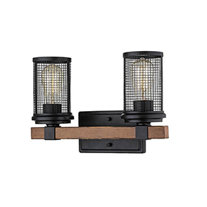 Finn Matte Black and Wood Grain Two-Light Bath Vanity