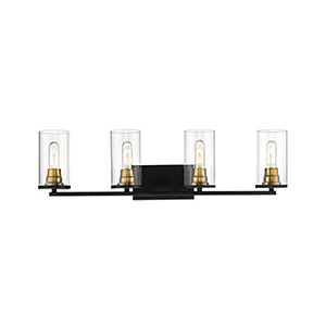 Finn Matte Black and Heirloom Bronze Four-Light Bath Vanity