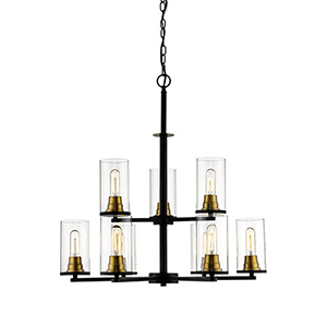 Finn Matte Black and Heirloom Bronze Nine-Light Chandelier