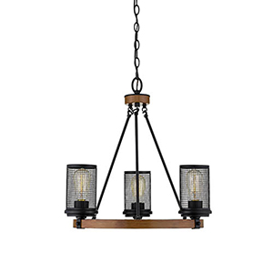 Finn Matte Black and Wood Grain Three-Light Chandelier