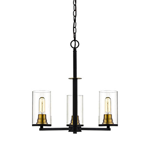 Finn Matte Black and Heirloom Bronze 23-Inch Three-Light Chandelier