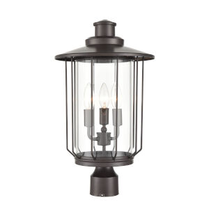 Ash Powder Coat Bronze Four-Light Outdoor Post Lantern