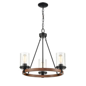 Ash Matte Black and Wood Grain Three-Light Chandelier