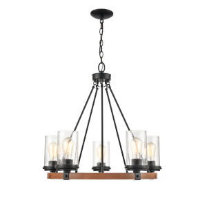 Ash Matte Black and Wood Grain Five-Light Chandelier