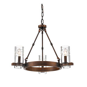 Cora Rubbed Bronze Three-Light Chandelier
