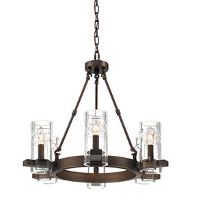 Cora Rubbed Bronze Six-Light Chandelier