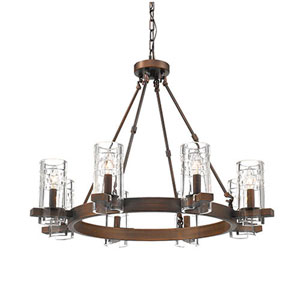 Cora Rubbed Bronze Eight-Light Chandelier