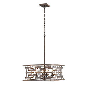 Cora Rubbed Bronze 20-Inch Four-Light Pendant