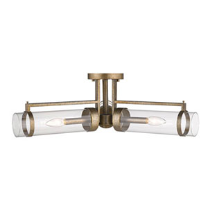 Cora Vintage Gold Three-Light Semi-Flush Mount