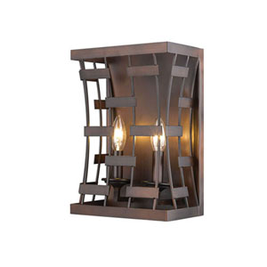 Cora Rubbed Bronze Two-Light Wall Sconce