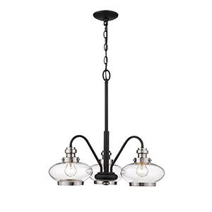 Pax Matte Black and Satin Nickel Three-Light Chandelier