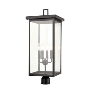 Castor Powder Coat Black Four-Light Outdoor Post Lantern