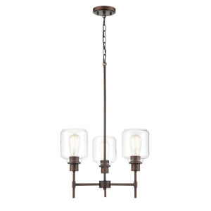 York Rubbed Bronze Three-Light Chandelier