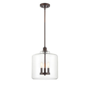 York Rubbed Bronze Three-Light Pendant