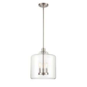 York Satin Nickel Three-Light Pendant