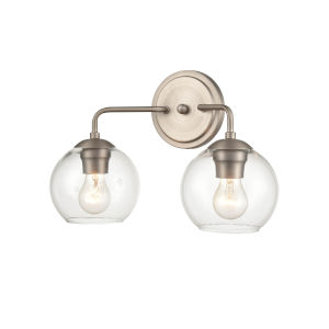 York Satin NIckel Two-Light Bath Vanity