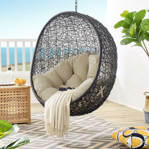 Darren Black and Beige Swing Outdoor Lounge Chair Without Stand