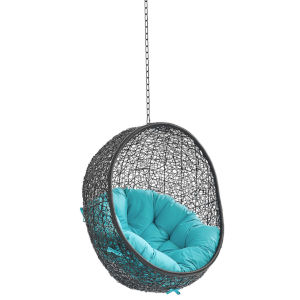 Darren Black and Turquoise Swing Outdoor Lounge Chair Without Stand