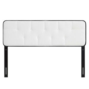 Whittier Black and White 80-Inch Tufted Wood King Headboard