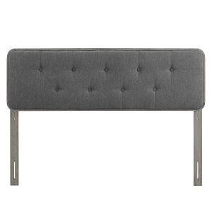 Whittier Gray and Charcoal 63-Inch Tufted Wood Queen Headboard