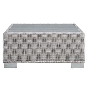 Roat Light Gray 32-Inch Outdoor Patio Wicker Rattan Coffe Table