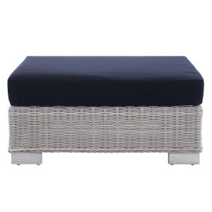 Roat Light Gray and Navy Outdoor Patio Wicker Rattan Ottoman
