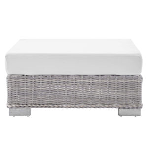 Roat Light Gray and White Outdoor Patio Wicker Rattan Ottoman