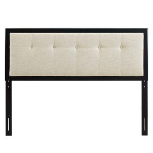 Whittier Black and Beige 23-Inch Tufted Wood Twin Headboard