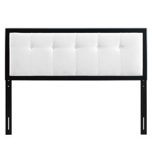 Whittier Black and White 23-Inch Tufted Wood Twin Headboard