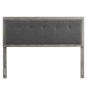 Whittier Gray and Charcoal 23-Inch Tufted Wood Twin Headboard