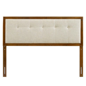 Whittier Walnut and Beige 23-Inch Tufted Wood Twin Headboard
