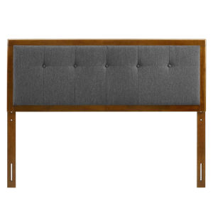Whittier Walnut and Charcoal 23-Inch Tufted Wood Twin Headboard