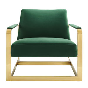 Monroe Gold and Emerald Performance Velvet Accent Chair