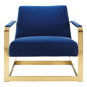 Monroe Gold and Navy Performance Velvet Accent Chair
