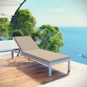 Darren Silver and Beige Outdoor Patio Aluminum Chaise with Cushion