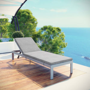 Darren Silver and Gray Outdoor Patio Aluminum Chaise with Cushion